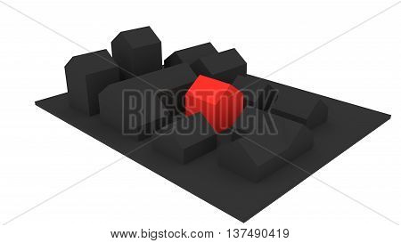 Grey village with houses. One house is highlighted by red color. 3D rendered illustration. Isolated on white background.