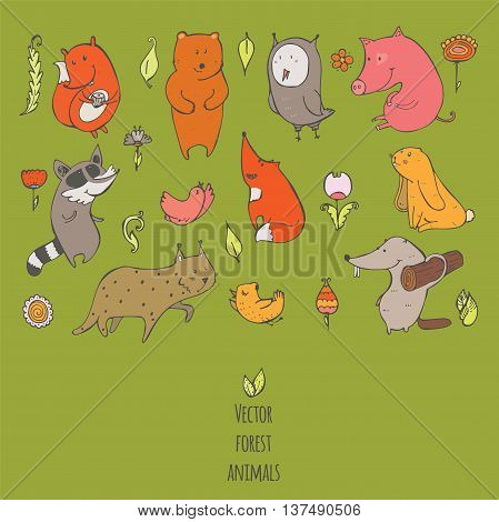 Vector illustration with cute and naive forest animals. Hand drawn colorful set decorated with flowers and birds isolated on green. Bear fox raccoon squirrel owl beaver lynx bunny pig