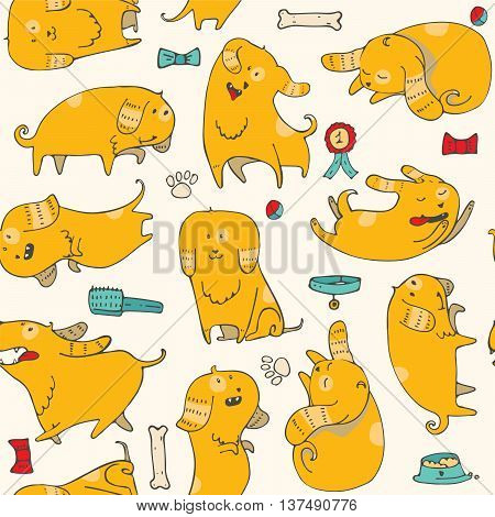 Cute vector illustration with fun puppies in seamless pattern. Bright colors different poses various accessories. Kind illustration good for print fabric kids wallpaper pet shop wrapping paper.