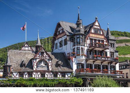 Historic hotel in Assmannshausen in the Rheingau Hesse Germany