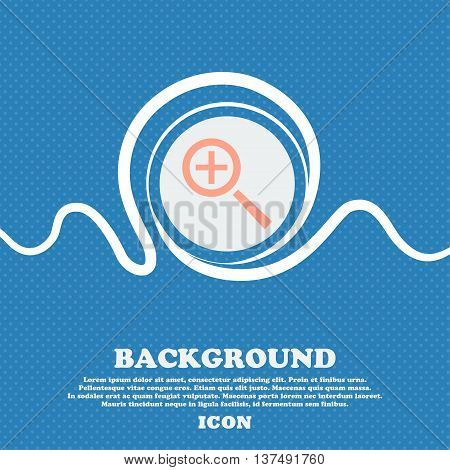 Magnifier Glass, Zoom Tool Icon Sign. Blue And White Abstract Background Flecked With Space For Text