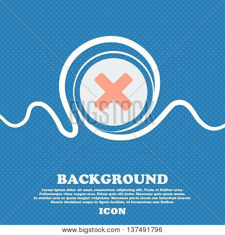 Cancel, Multiplication  Sign Icon. Blue And White Abstract Background Flecked With Space For Text An