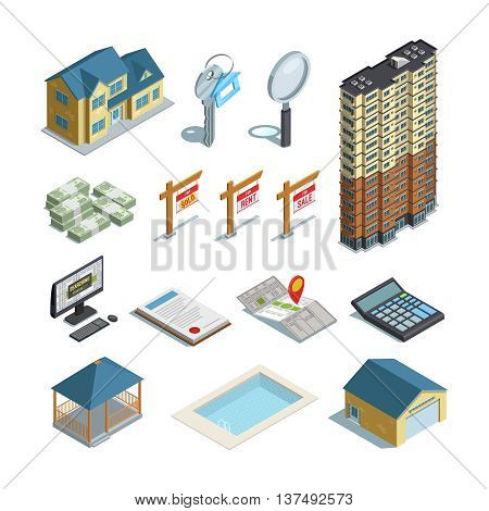Real estate property land swimming pool and buildings for sale  isometric icons set abstract isolated vector illustration