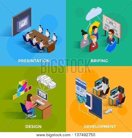 Isometric development 2x2 design concept set of designers and programmers on software presentation and new website briefing flat vector illustration