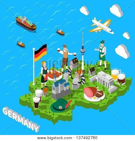 Germany isometric cultural sightseeing map for tourists with traditional national cuisine and landmarks symbols  abstract vector illustration