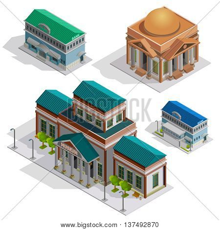 Bank and museum city buildings isometric decorative icons set with pillars and elements in style of classicism  isolated  vector illustration