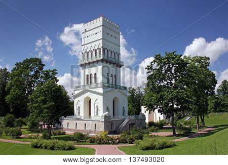 PUSHKIN RUSSIA - JUNE 17 2016: The White Tower in Alexander Park. Tower was built between 1821 and 1827 for children of Russian Emperor Nicholas First June 17 2016