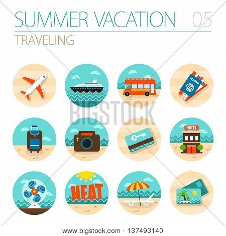Traveling vector icon set. Summer time. Vacation eps 10