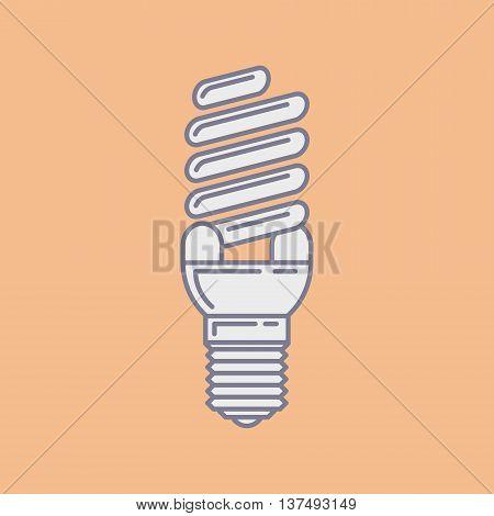 Vector Efficient Energy Saving Fluorescent Light Bulb Icon.