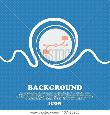 Bezier Curve Icon Sign. Blue And White Abstract Background Flecked With Space For Text And Your Desi