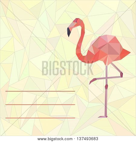 Vector card template with polygonal pink flamingo on low poly background.