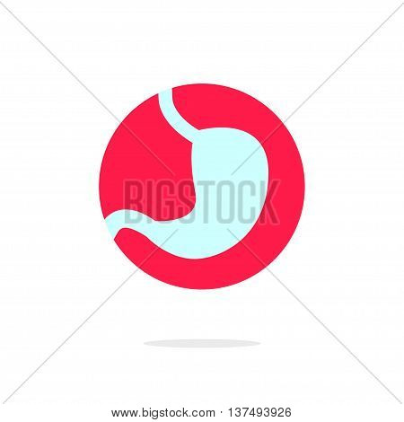 Stomach vector logo icon, concept of medical center emblem, clinic symbol modern flat icon design isolated on white