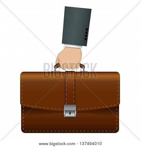 Hand holding leather, brown briefcase. Concept of a portfolio manager for the banner. Isolated, detailed vector illustration on a white background.