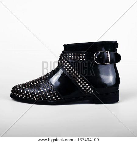 stylish female black female shoes over white