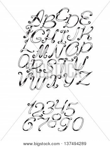 Handdrawn vector font in black and white isolated on white background. Letter sequence from a to z and numbers from 0 to 9. Hand drawn with brush painted abc letters good for lettering quote design.