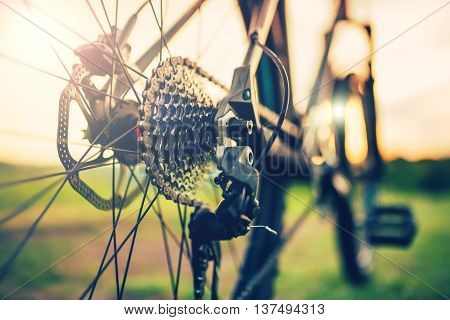 Close Up Of A Bicycle Wheel With Gear Lever Details, Chain And Spokes, Gears Mechanism