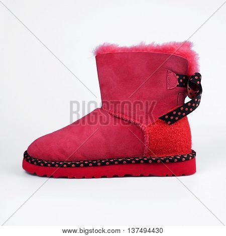 Red Winter Fur Boots
