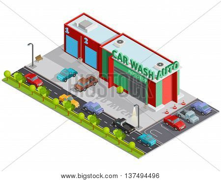 Isometric poster of composition contains car wash building and  parking behind it with customers cars vector illustration