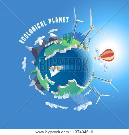Little planet vector illustration. Eco world 3d land. Isolated design elements - wind solar power green nature