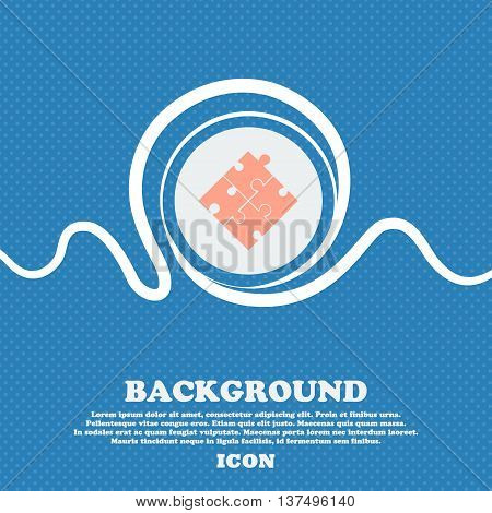 Puzzle Piece Icon Sign. Blue And White Abstract Background Flecked With Space For Text And Your Desi