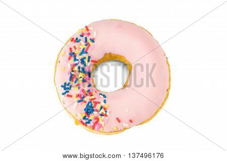A strawberry donut isolated on white background