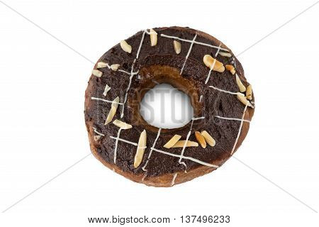 A chocolate donut isolated on white background