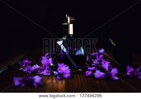 bottle of female perfume in dark background