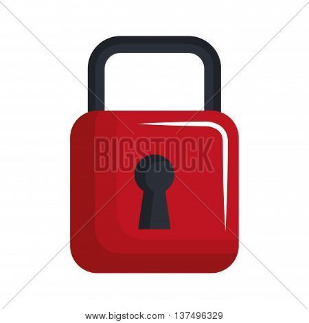 Red  padlock isolated flat icon, vector illustration graphic design.