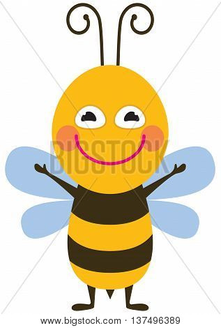 The Funny bee - color vector illustration