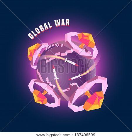 Little planet globe 3d Earth vector concept illustration. Nuclear war bomb mushrooms explosive design elements