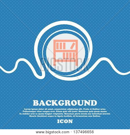 Bookshelf Icon Sign. Blue And White Abstract Background Flecked With Space For Text And Your Design.