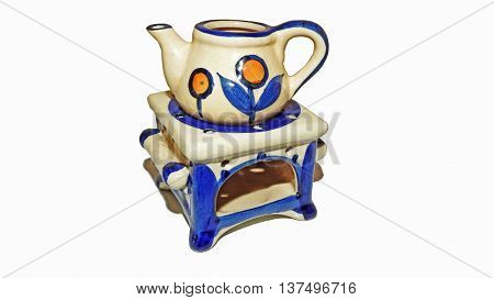 Blue-white ceramic teapot. Isolated on white background.