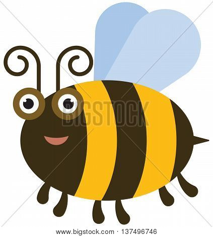 The Funny bee - color illustration icon