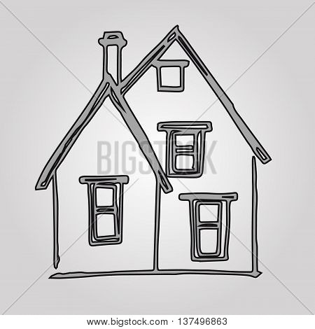 Graphic image of a house with a pipe. Abstract drawing of a house with Windows and chimney on a gray background. Sloppy picture of the child vector