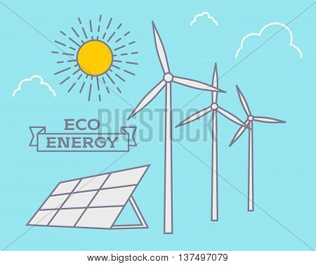 Wind Alternative Energy And Sun Energy Vector Background