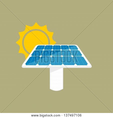 Solar Panel Icon. Sun Energy Panel Illustration With Sun And Panel