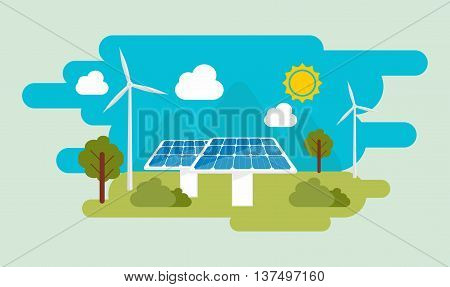 Green Eco Energy Flat Design Vector Concept Illustration. Sun And Wind Energy. Solar Panel And Wind