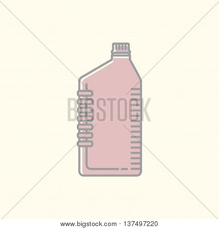 Vector Linear Illustration Of Canister, Bottle. Thin Line Icon Or Symbol Template