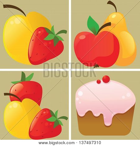 Fruit and cake icons - the vector color illustration icon