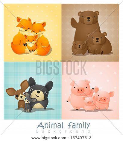 Set of cute animal family portrait , vector , illustration