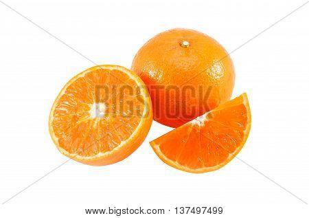 Fresh mandarin orange isolated on white background.