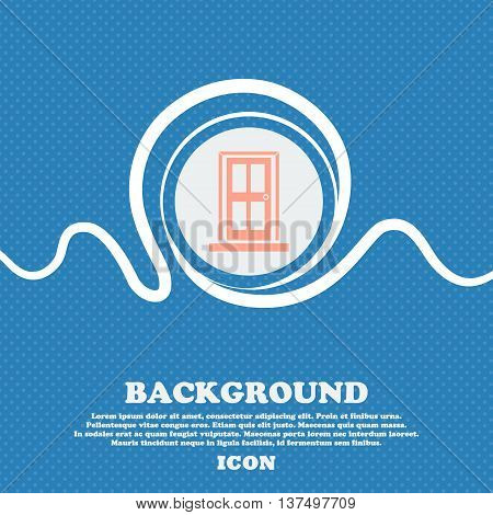 Door Icon Sign. Blue And White Abstract Background Flecked With Space For Text And Your Design. Vect
