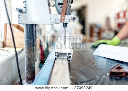 Industrial Metal And Steel Drilling Tools In Factory. Metal Indu