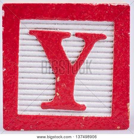 Red letter Y painted wood block distressed
