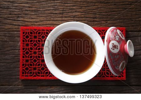top view of cup of chinese tea