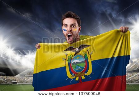 Fan holding the flag of Ecuador