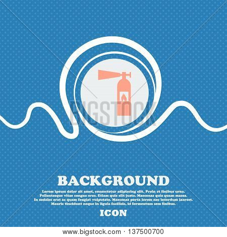 Fire Extinguisher Icon Sign. Blue And White Abstract Background Flecked With Space For Text And Your