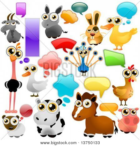 farm animal cartoon set