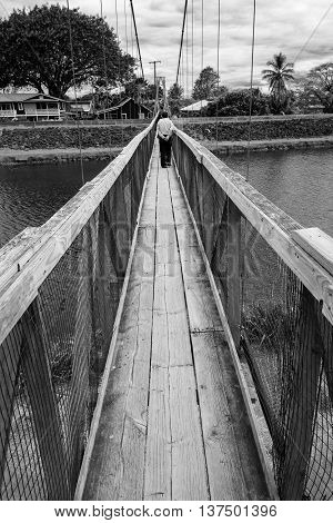 Walking through a suspension bridge. At Kauai, Hawaii.
