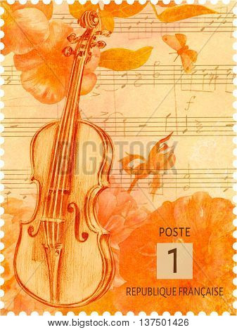 Mockup of French postage stamp with hand drawn violin on background of golden toned flowers and butterfly faded sheet music with words 'Post of French Republic' (can be used as postcard) isolated